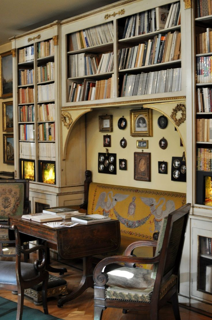 Library in Mario Praz house-museum, Rome. Pinned from www.rocaille.it