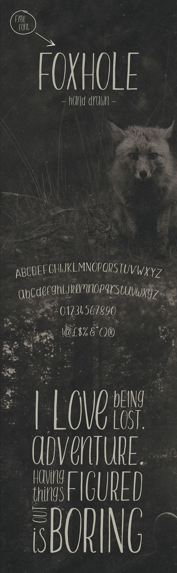Foxhole, a free hand-drawn sans-serif font by Ian Barnard. Can be used for personal or commercial purposes. Download here!