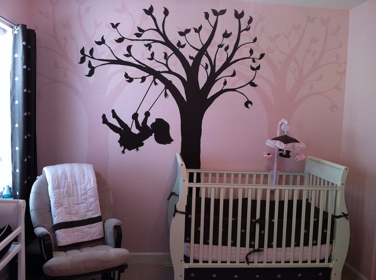 Easy Wall Murals Part   39: Silhouette Swing Paint By Number Wall Mural