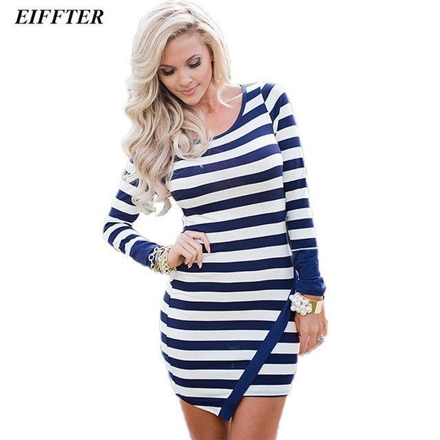 EIFFTER Spring Autumn Women Dress New Fashion Sheath Striped Dress Long Sleeve O-neck Plus Size Women Clothing Dresses