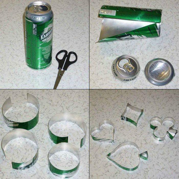 Формы для печенья из алюминиевых банок.