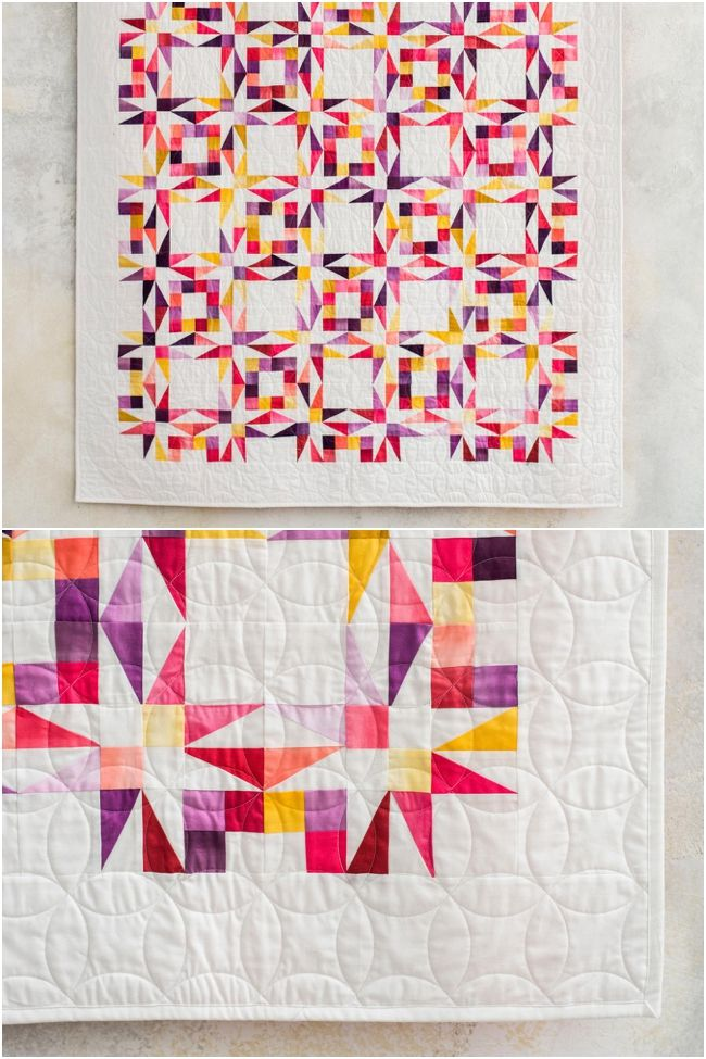 Twinkling Twilight Quilt Kitby Nancy Smith featuring Boundless Fabrics   Ombre.  Half-rectangle quilt kit creates a twinkling star quilt.    #starquilt #modernquilting affiliate link.