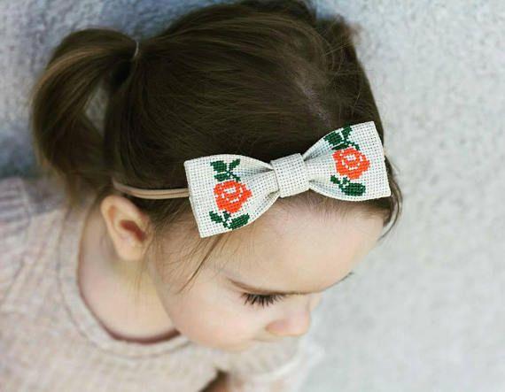 Baby Orange Bow Headband Nylon Headband With Rose Orange Bow