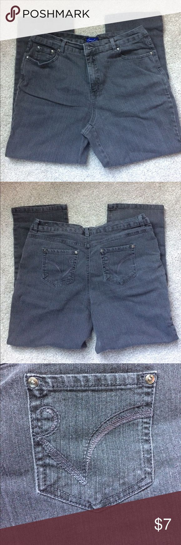 """👖 ladies Kim Rogers petite jeans 👖 EUC Kim Rogers straight leg jeans.  One flaw noted in last picture.  Color is blackish gray.  Size is 12 petite short.  Length is 36"""", inseam is 26"""" and leg opening is 8"""".  80% cotton 16% polyester 2% spandex Kim Rogers Jeans Straight Leg"""