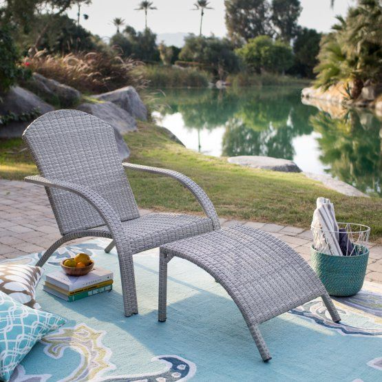 Belham Living Bellevue All Weather Wicker Adirondack Chair with Ottoman
