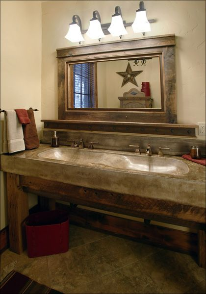 Home on the Range Interiors ~ Western Bath....love this website! You have to check it out if you like western, rustic style.