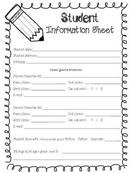 Student Information Form Student Information And Back To