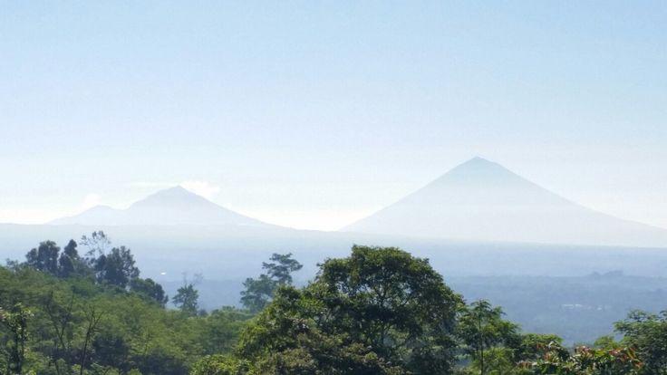 Gunungs Batur and Agung. View from  Bedugul
