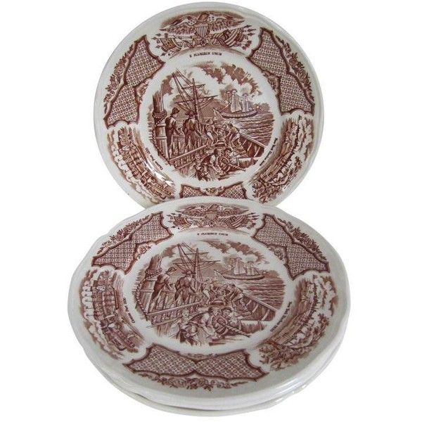 English Brown Transferware Salad Plates - Set of 5 ($30) ❤ liked on Polyvore featuring home, kitchen & dining, dinnerware, holiday dinnerware, salad plate sets, fall dinnerware, autumn salad plates and salad dessert plates