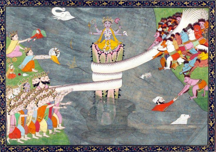 """Thema der Geschichte vom """"Quirlen des Milchozeans"""" im hinduistischen Schöpfungsmythos ist die Suche nach dem Unsterblichkeitstrank, Amrita, den Devas (Götter) ebenso wie Asuras (Dämonen) begehren, der aber für alle unerreichbar im Milchozean verborgen liegt. Erst das gemeinsame Quirlen des Urwassers, dass eintausend Götterjahre gedauert haben soll, lässt das ersehnte Elixier nach vielen Hindernissen auftauchen. Schildkröten stützen den Berg Mandara (Mitte)."""