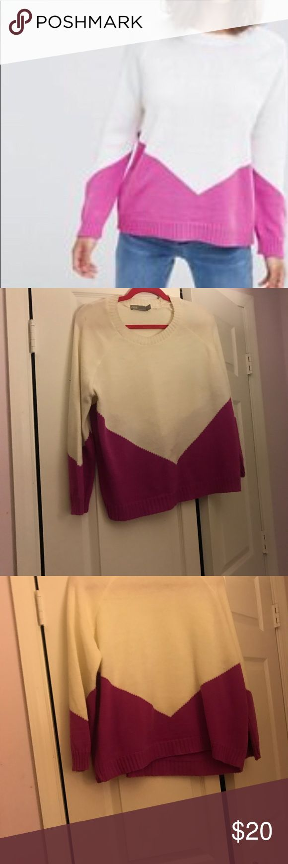 ASOS PETITE Chunky Sweater with Chevron Chevron design makes this extra playful.  This gently used chunky sweater is super warm and beautiful white with magenta coloring would brighten up any room. Great for Winter and its immediately after chilly Spring nights. ASOS Petite Sweaters
