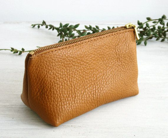 SMALL LEATHER POUCH  Small Tan Leather Clutch  Leather