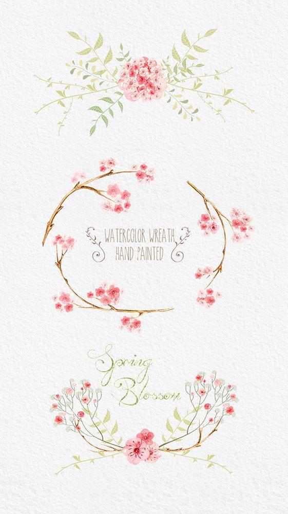 Sakura Clipart Flowers Digital. Hand drawn clip art by ReachDreams