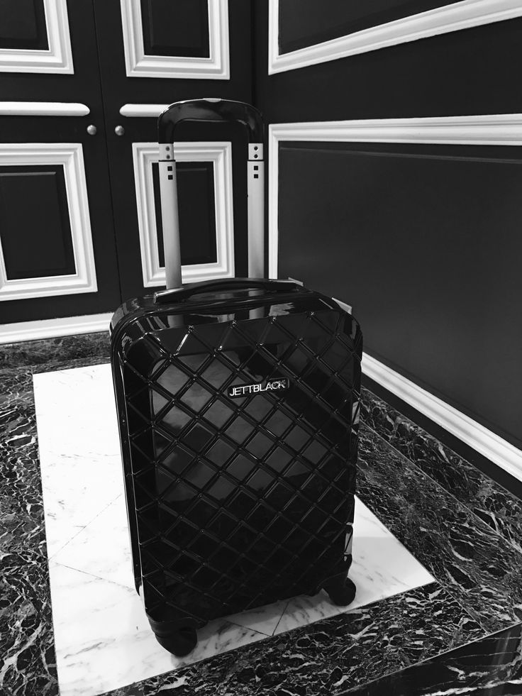 Statement Piece - Check Black Carry On Suitcase by Jett Black