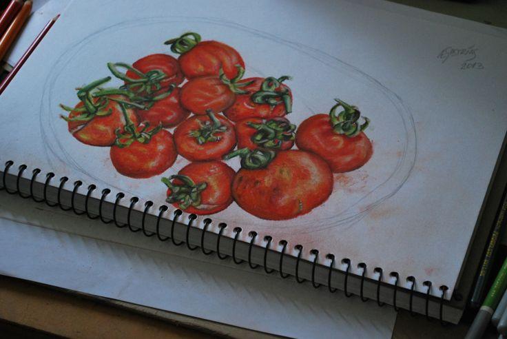 Tomatitos - Illustration of Fresh Tomatos - ©Æ Sastrias 2014 - drawing coloured by Stabilo Pencils