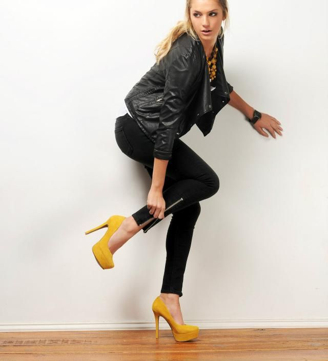 New Year's Eve Fashion - Going Out Style - Black Jeans, Black Biker Leather Jacket, Colorful High Heel Shoes