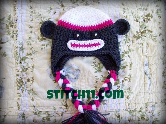 302 best crochet sock monkey items images on pinterest crochet 6 months sock monkey hat free pattern also has 0 3 month toddler dt1010fo