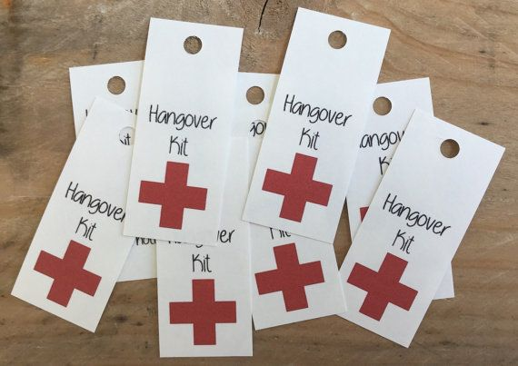 Hangover Kit Tag Wedding Favor Tag Wedding Ideas by BAMdesignshop
