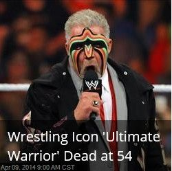 Latest News:  Wrestling Icon 'Ultimate Warrior' Dead at 54.  The Ultimate Warrior was inducted into the WWE Hall of Fame Saturday, appeared at WrestleMania XXX on Sunday, and on Monday, he appeared on Monday Night Raw for the first time in years.  Get all the latest news on your favorite celebs at www.CelebrityDazzle.com.