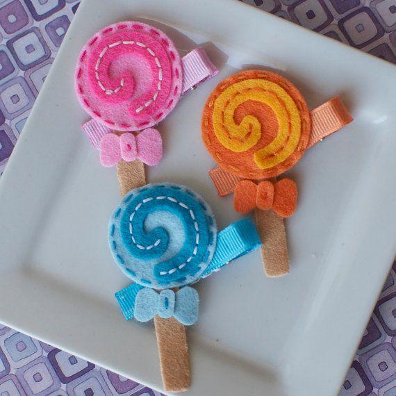 Felt Lollipop Clip Choose Pink Orange Blue or by MyLittlePixies, $3.75