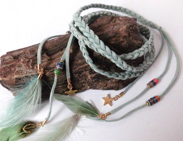 Great gift for hippie. Lovelly mint Hairband / braided festival headband hippie ethnic – a unique product by santa-fee via en.DaWanda.com