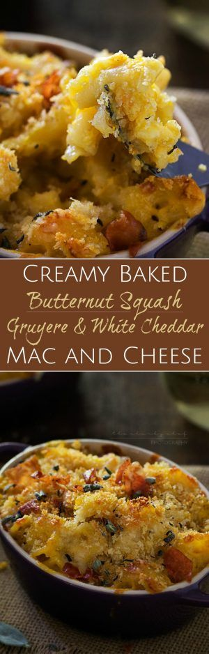 Butternut Squash and Gruyere Mac and Cheese | This dish is the ultimate mac and cheese! Pureed savory roasted butternut squash is mixed with an ultra creamy Gruyere and white cheddar sauce!