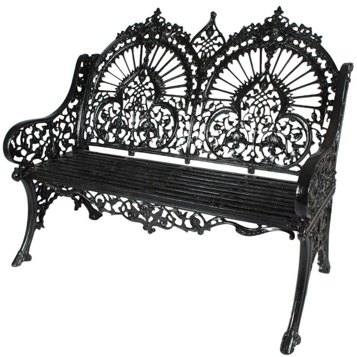 Fine Cast Iron Garden Bench, Signed Robert Wood