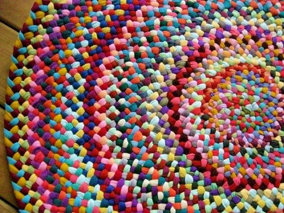 Made To Order Colorful Braided Round Rug in upcycled by mrsginther