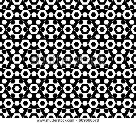 Vector monochrome texture, black & white hexagonal geometric seamless pattern. Stylish abstract background with different sized hexagons, symmetric structure. Design for textile, cover, wrapping
