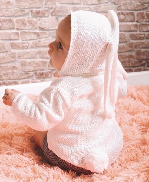 233886787d Blusa bebê unissex em tricô com orelha de coelho no capuz e rabinho de  pompom