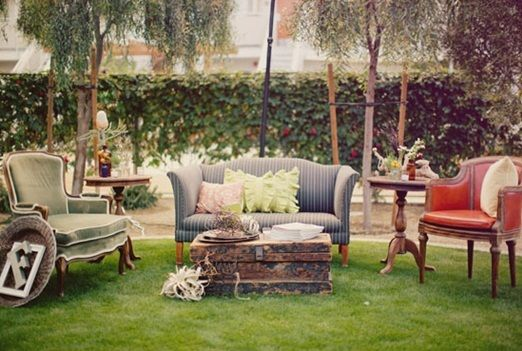 Bringing the indoors outside with outdoor living rooms at your wedding reception