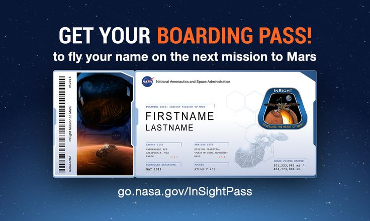 Send your name to Mars on InSight. View and share your boarding pass. See your frequent flyer points: go.nasa.gov/InSightPass