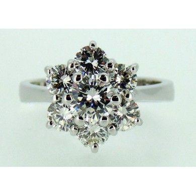 Anello a Fiore di Diamanti taglio Brillanti ct.1.92 Cod.3906 TR