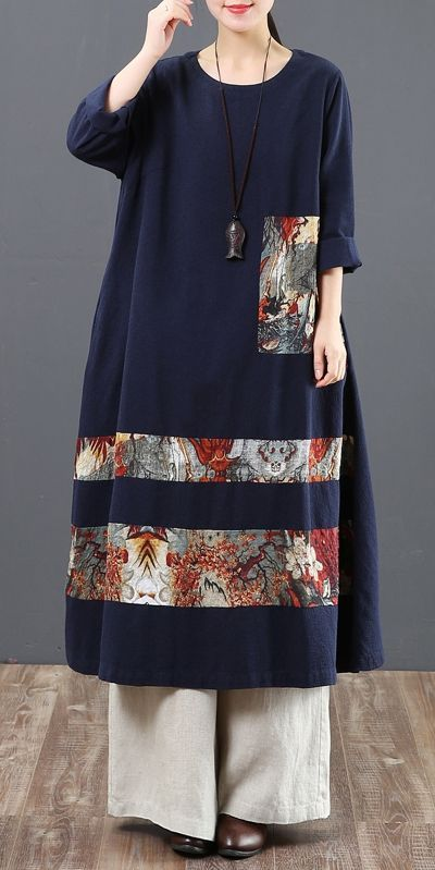 Women Loose Cotton Dresses Casual Spring Clothes 6130