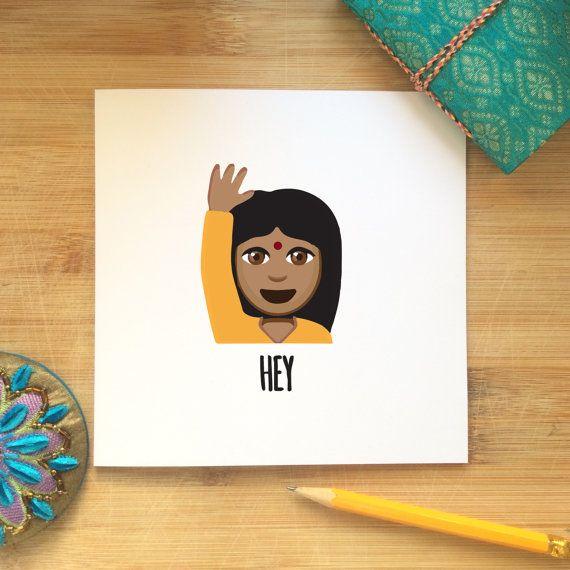 Blank Card  Indian girl emoji with raised hand by KushiyaDesigns