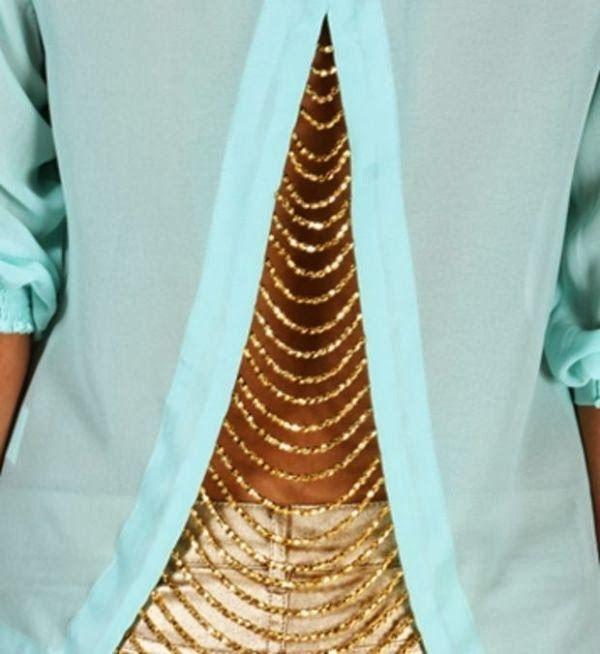 Back chain detail mint blouse fashion