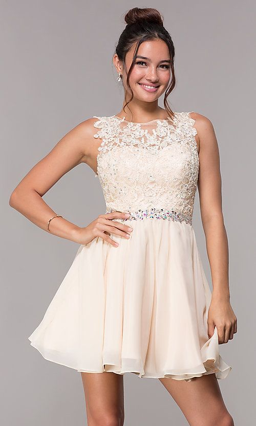 8776d37cd6 Short Chiffon Homecoming Embroidered-Applique Dress