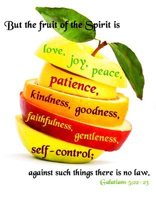 But the fruit of the Spirit is love, joy, peace, patience, kindness, goodness, faithfulness, gentleness, self-control; against such things there is no law. - Galatians 5:22-23 (NASB)