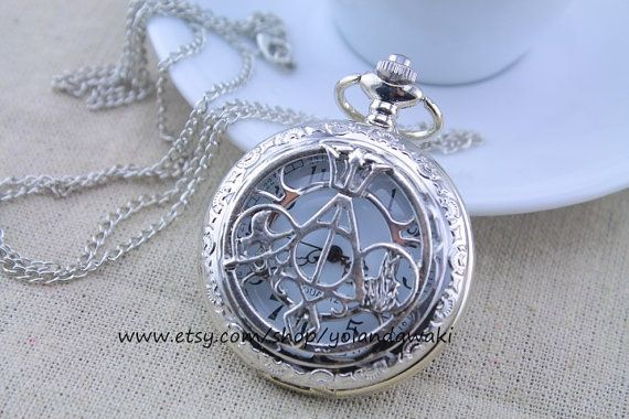 Harry Potter jewelry, The Mortal Instruments, Divergent and Percy Jackson silver pocket watch necklace