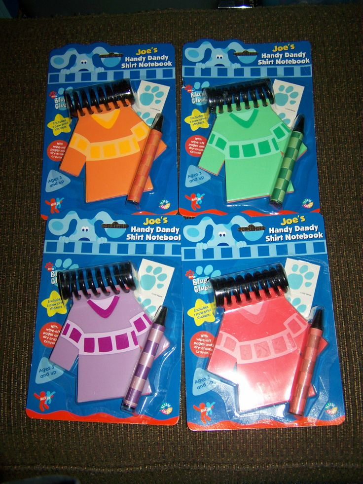 Lot of 4 RARE NEW Blues Clues HANDY Dandy SHIRTS NOTEBOOKS ...