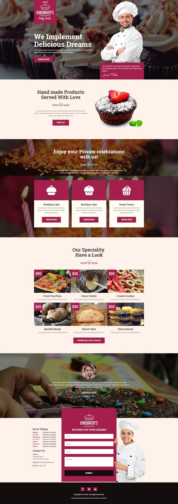 King Baker's is a clean and modern landing page template with ultimate design…