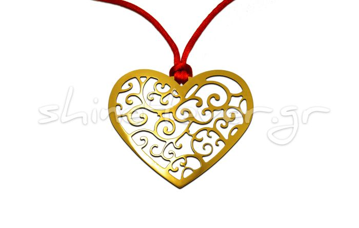 Gold-plated Heart-shaped Pendant for Valentine's Day. By shine4ever.gr.