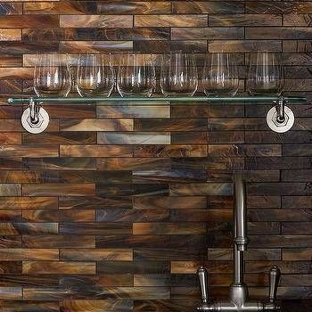Simple Copper Glass Tile Backsplash Iridescent Copper Backsplash