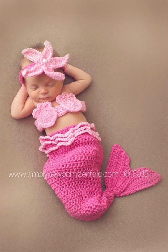 On Sale Pink Crocheted Mermaid Baby Costume by CreativeDragonfly