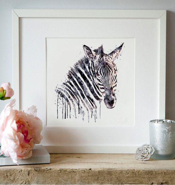 Zebra head Watercolor painting Wall art Zebra art by Artsyndrome