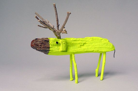 Neon Yellow Wooden Deer by cocoetpompon, I think it's possibly the most amazing deer I have ever seen!