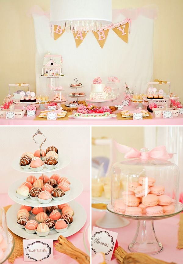 Darling Baby Showers!!: Vintage Baby Shower, Pink Desserts, Baby Shower Ideas, Parties, Pink Baby Shower, Baby Girls, Girls Shower, Darling Baby, Baby Shower