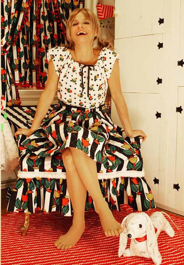 "Amy Sedaris head-to-toe in her new fabric collection ""I Like You"" for Windham Fabrics!!"