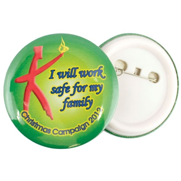 Round button badge 32mm with full color Round button badge 32mm with full colour Product size: 32mm Branding: Digital print Material: Metal and Plastic