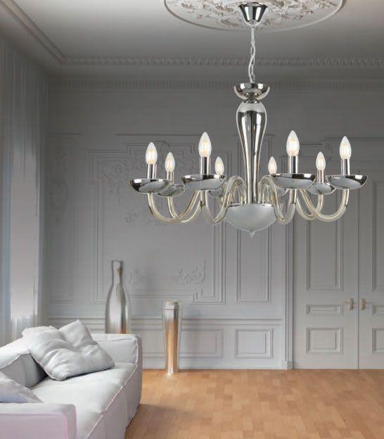 Φωτιστικό κρεμαστό, πολυέλαιος από γυαλί σε χρώμιο σε κλασικό στυλ. Από την Zambelis. ----------------------------------- Light pendant, chandelier from glass and base in chrome color in classic style. #livingroomideas #livingthedream #luxury #luxuryhome #chandelier #light #zambelislights